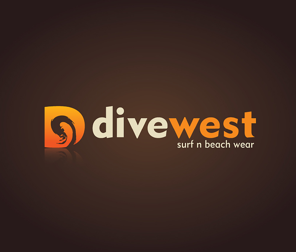 Divewest – Surf Clothing Logo Design Brown
