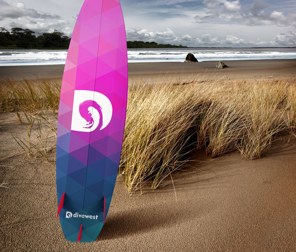 Divewest – Surf Board Logo Design