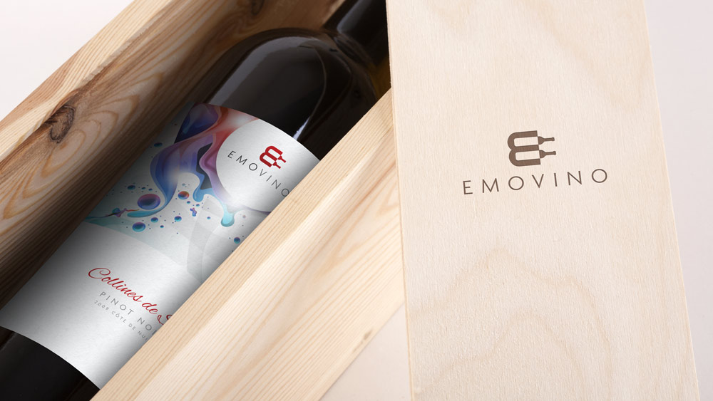 Emovino Logo Design – Wine Distributor, Paris Presentation Box
