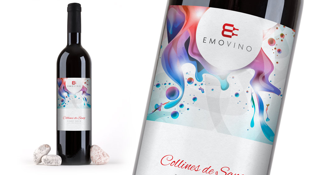 Emovino Logo Design Wine Bottle