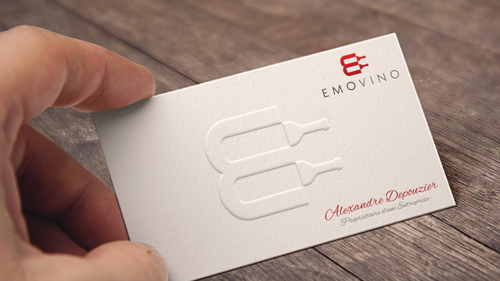 Emovino Logo Design – Wine Distributor, Paris Business Card