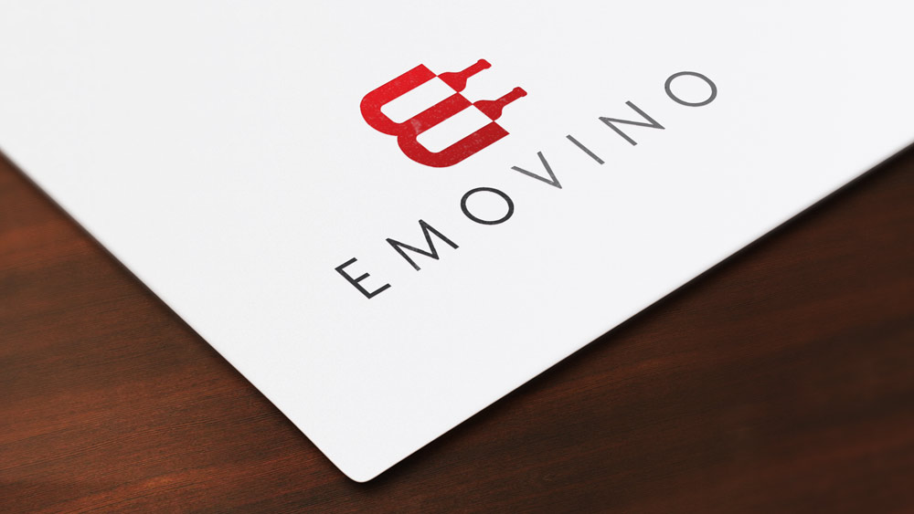 Emovino Logo Design Presentation Folder