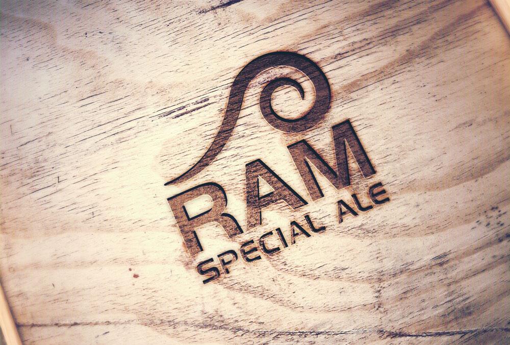 Ram Special Ale Logo Design Wood